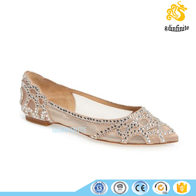 Luxury Crystal Diamond mesh fabric pointed toe ladies wedding dress flat bridal Shoes Sandals Women