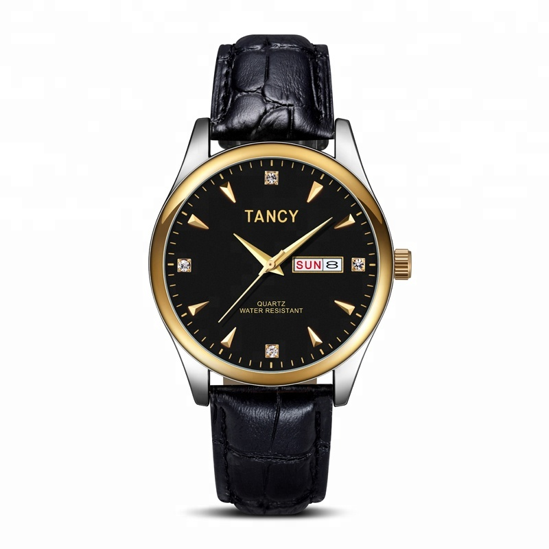 Tancy wristwatch quartz movement, a stainless steel case and an Italian leather strap. water resistant men's watch фото