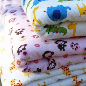 wholesale printed organic cotton mull bulk flannel fabric for baby rompers from textile factory in china hebei