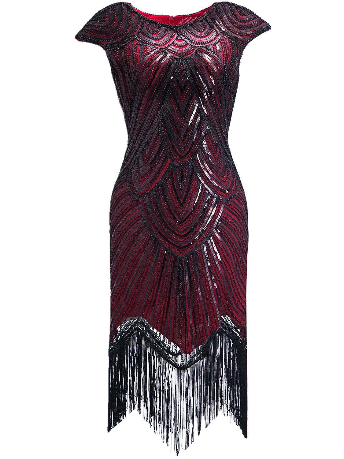 bdb87c19e744b Get Quotations · Clothin Women's 1920s Style Beaded Deco Flapper Dress  Vintage Inspired Sequin Embellished Fringe Gatsby Dress