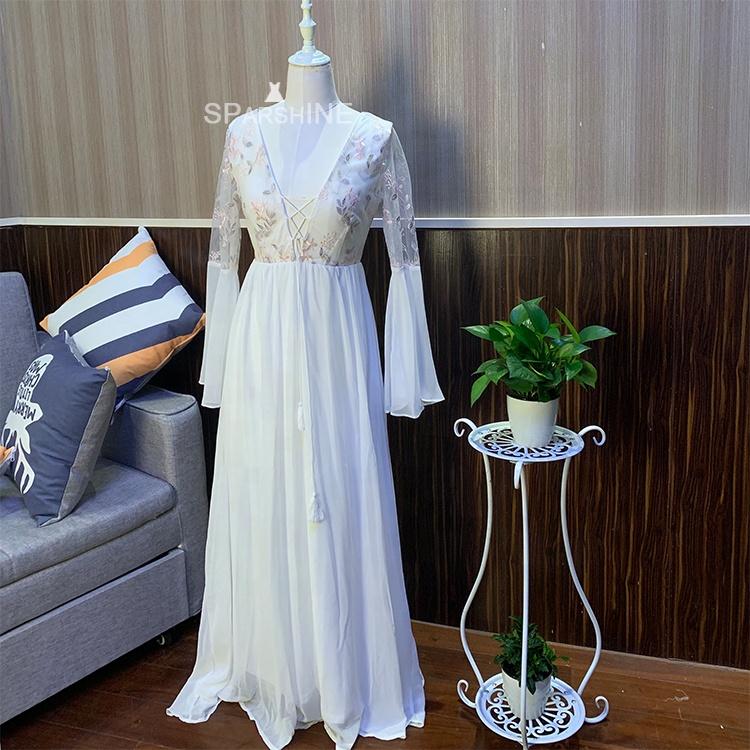 Boho Beach Wear Flare manches mariage robes de demoiselles d'honneur robes d'été femmes à manches longues robe Maxi