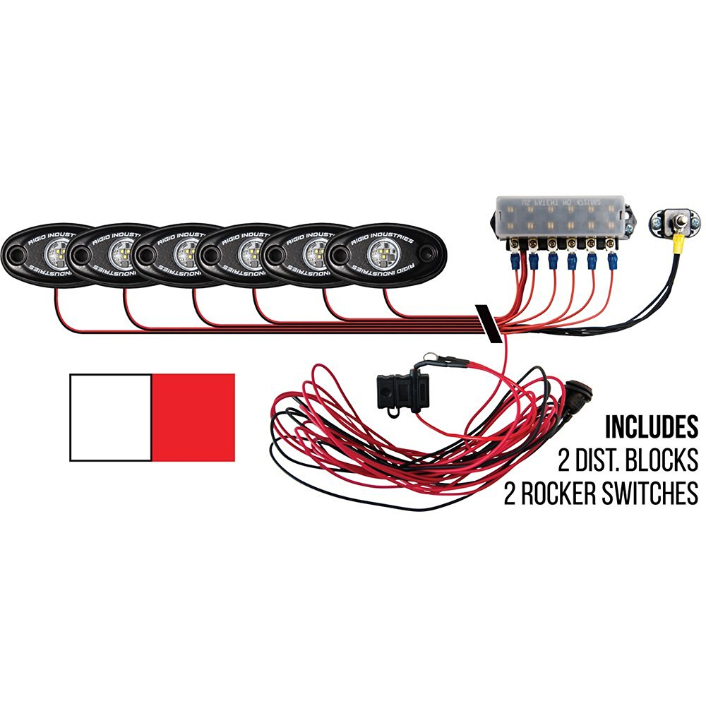 Rigid Industries Signature Series Deck Kit - 2 Cool White, 4 Red Lights