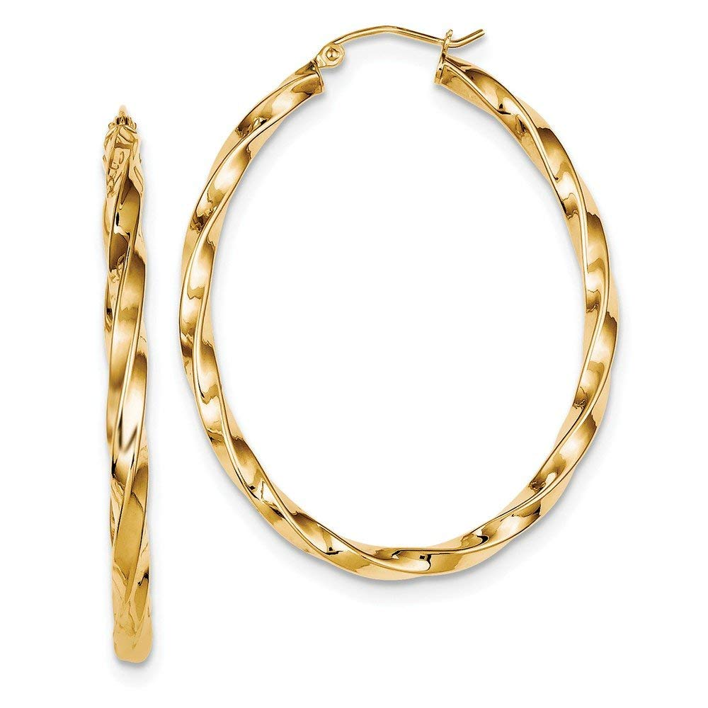 10Kt Gold Interwoven Plain//Textured Tube Oval Hoop Ear Hoop Earrings