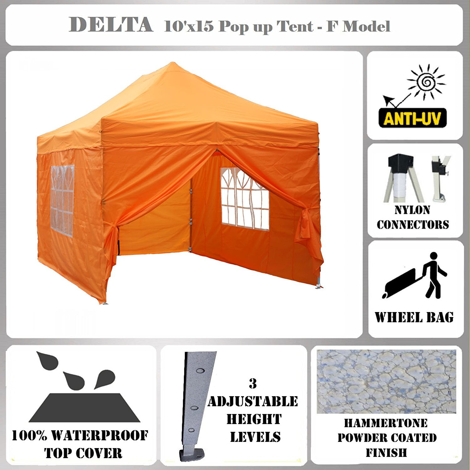 10'x15' Pop up Canopy Wedding Party Tent Gazebo EZ UP Orange - F Model Commercial Frame By DELTA Canopies