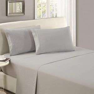 Light Grey Brush Microfiber flat sheet /top sheet /Wrinkle, Fade, Stain Resistant - Hypoallergenic