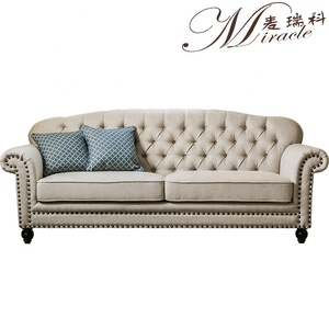 Factory Customized America Style Living Room Furniture Couch Set RH Linen Style Chesterfield Sofa Set