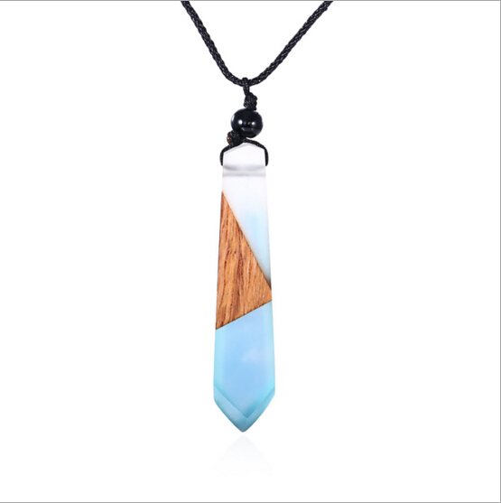 78af40369c8cca latest fashion long top design minimalist wood resin necklace Handmade Wood  and Resin Pendant Necklace