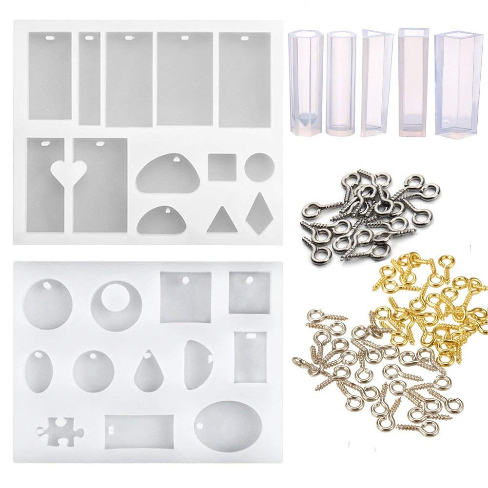 7 Pack Jewelry Casting Molds, Assorted Designs Resin Casting Molds Silicone Jewelry Making Molds Set with 300 Pieces 3 Color Mini Screw Eye Pins