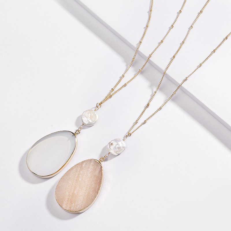2019 Fashion Necklace Natural Fresh Water Pearl Wrapped Water Drop Shape Pendant Necklace Stock фото