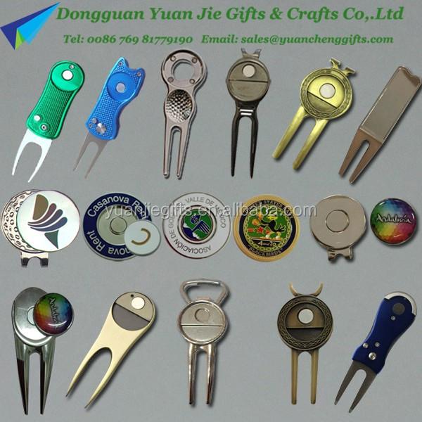 Metal golf pitchfork brass golf divot tool with golf ball for Pitchfork tool for sale