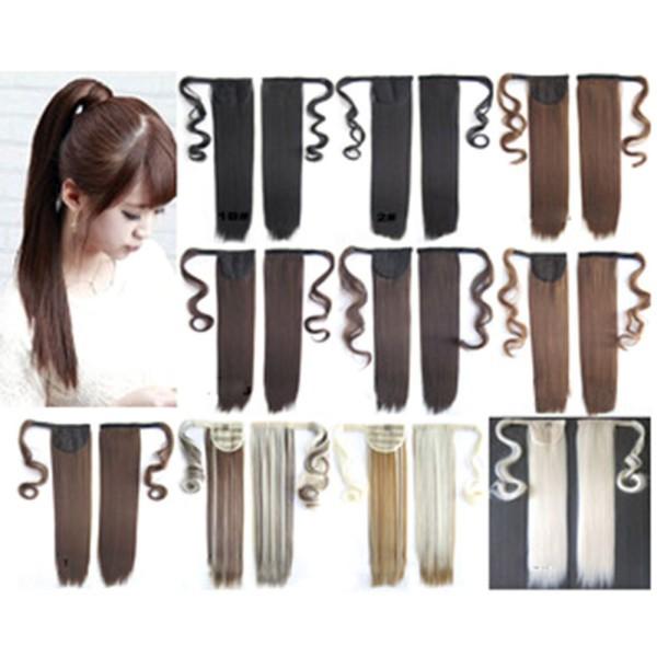 Новейшая продажа нью-wrap вокруг клипа в хвост наращивание волос конский хвост прямо