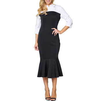 80112-9 Sexy girl black white stitching noble high neck women dresses 2018 fashion