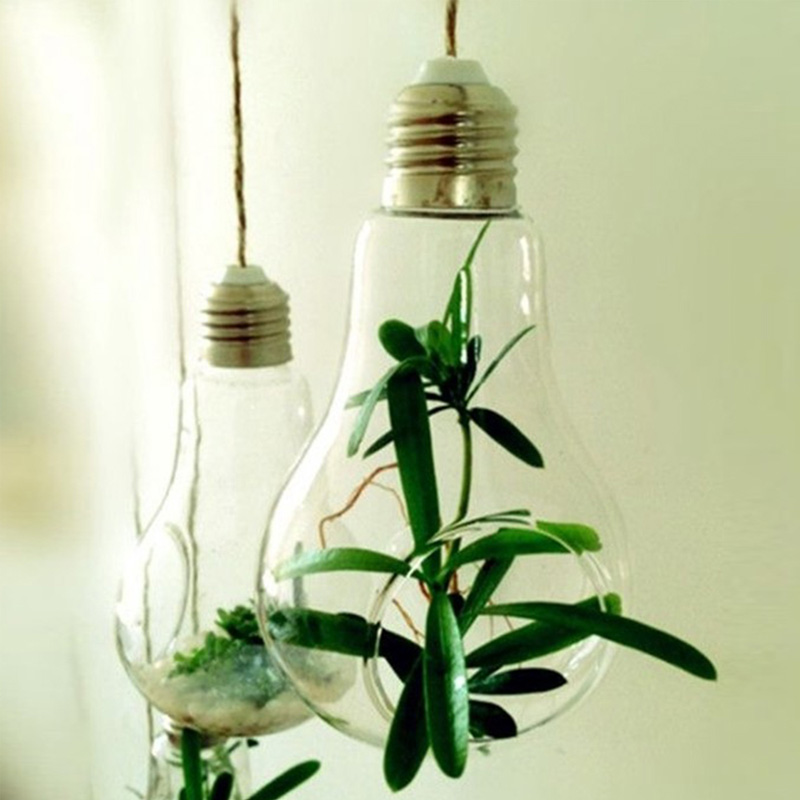 <font><b>Elegant</b></font> Clear Glass Bulb Lamp Shape Flower Water Plant Hanging Vase Hydroponic Container Pot Office Wedding <font><b>Home</b></font> <font><b>Decor</b></font>
