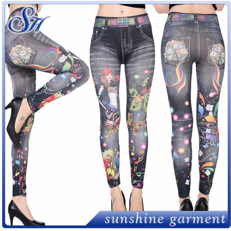Leggins jean wholesale cute prints colorful high waist seamless tattoo tights jeggings фото