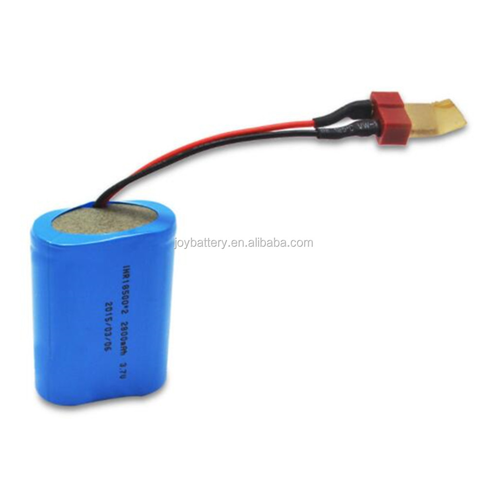 Rechargeable cylindrical 18500 2P 3.7V 2800mAh lithium-ion battery pack with connector