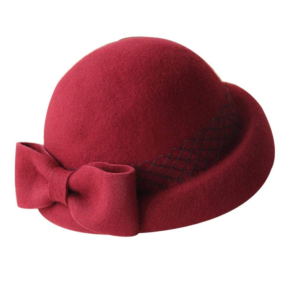 Get Quotations · Panda Superstore British Style Woolen Bowknot Mesh  Billycock Roll Brim Bowler Hat 03e547952604