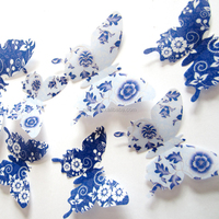 3D Blue and white porcelain series butterflies Stickers DIY hot sell waterproof Butterfly Home living Room girls room Decoration