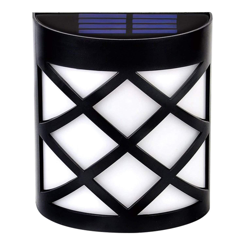 TechCode Solar Deck Lights, Wall Mount LED Light Spotlight Outdoor Fence Lamp Waterproof IP44 Led Solar Powered Light Outdoor Garden Patio Pond Pool Decoration Solar Lamp(Warm White, 1 Pack)