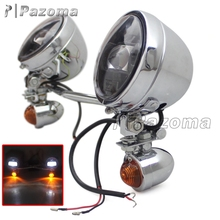Pazoma Chrome Driving Spotlight+Turn Signals With Bar Bracket For Harley Suzuki Honda Yamaha Cruiser Chopper