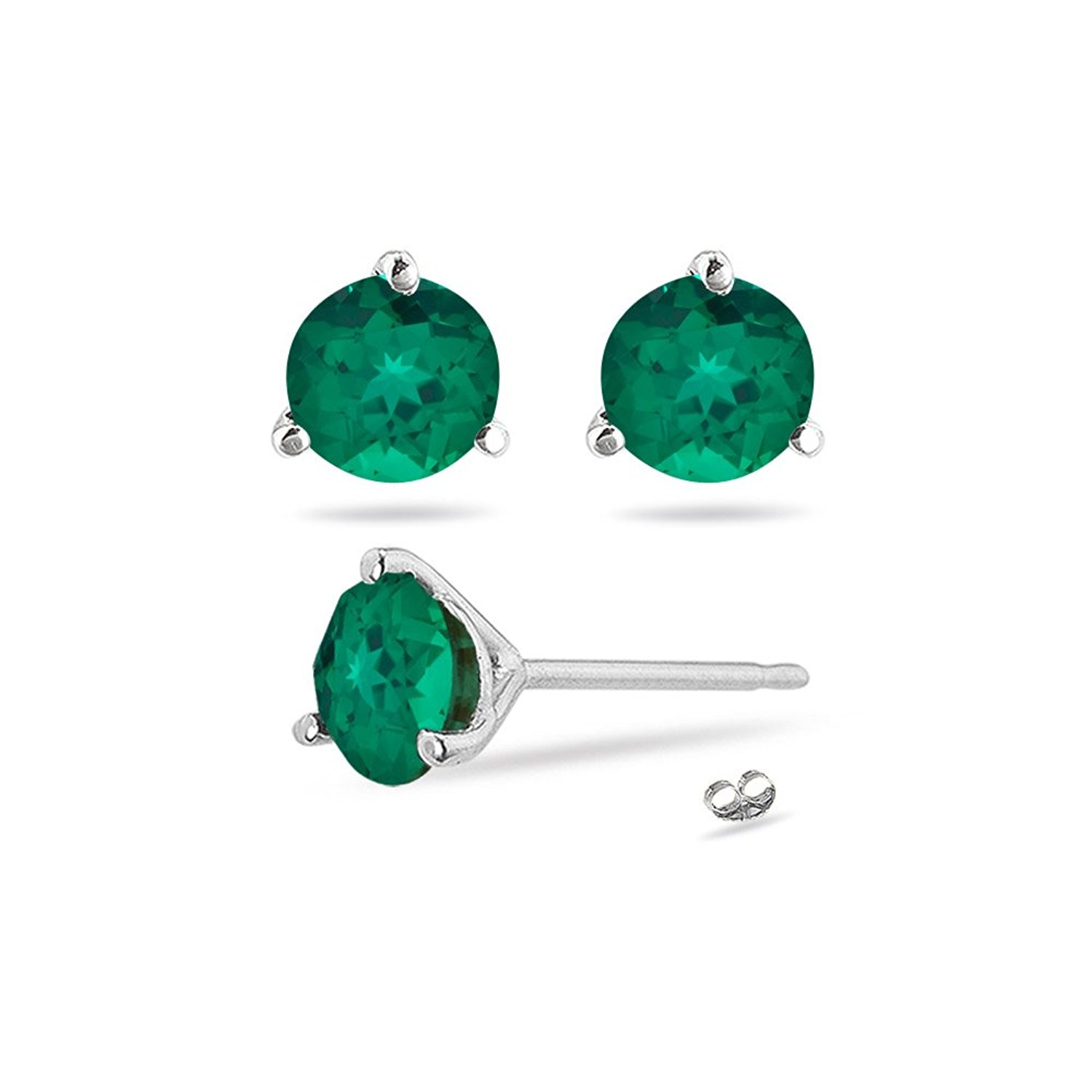 7ad62b831 Get Quotations · 0.47-0.51 Cts of 4 mm AAA Round Russian Lab Created  Emerald Martini-set