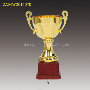 Small size red plastic base metal cup student trophy