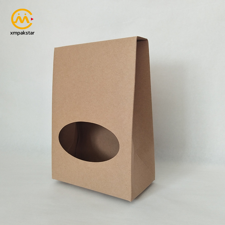 Factory customized foldable recycled kraft food packaging paper box with window