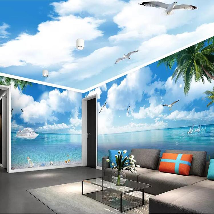 3d Ocean Beach Blue Sky White Cloud Fresco Bedroom Living Room Nonwoven Wallpaper Buy 3d Wallpaper3d Muraltv Background Wallpaper Product On