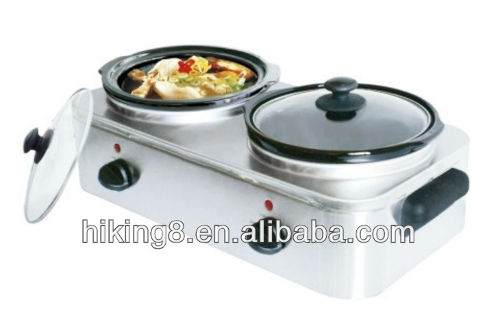 double round ceramic removable pots slow cooker