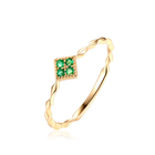 Delicate girlfriend gift real emerald jewelry ring in 14K gold
