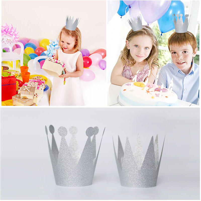 Tinkling Silver Mini Party Crown Cap Baby Shower Kids Child Cute Party Hat Happy 1st Birthday Celebration Party Supplies