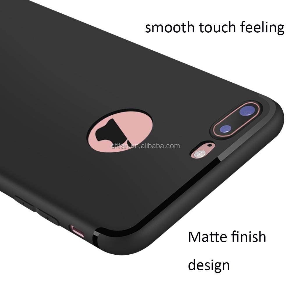 DFIFAN for iphone 7 7 plus, New Cool Design Soft TPU Matte Black case for iphone with Logo Hole Cell Phone Case Cover