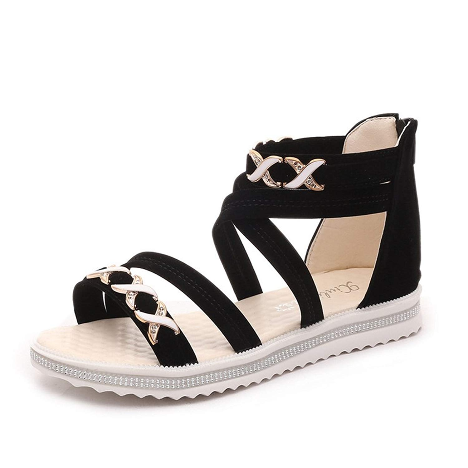 21ff4c056856b Get Quotations · Womens Flat Rhinestone Sandals Back Zip Casual Open Toe  Elastic Ankle Strap Gladiator Roman Shoes