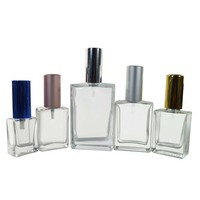 refillable 30ml 50ml 100ml clear black matte white rectangle glass spray perfume bottle