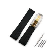 Мужской резиновый ремешок 20 мм 21 мм, складные пряжки, аксессуары для часов, GMT, Ghost Wang, водонепроницаемый спортивный силиконовый ремешок(Китай)