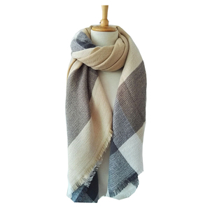 Wholesale Women's Knitted Elegant Plaid Oversize Winter Warm Scarf Wrap Shawl