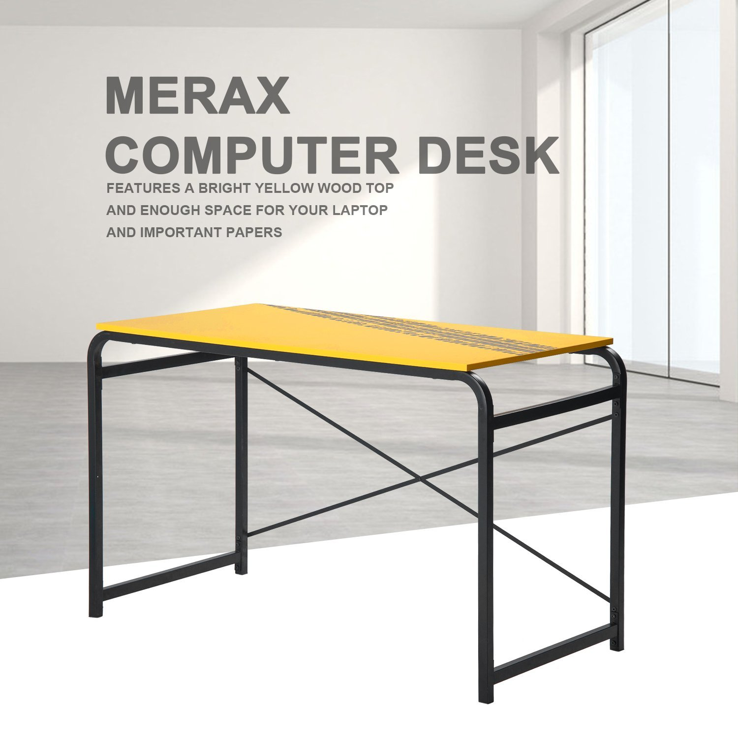 Merax Yellow PC Desk Computer desk Home Office Study Table Laptop Table Computer Desk with Metal Legs (Yellow)