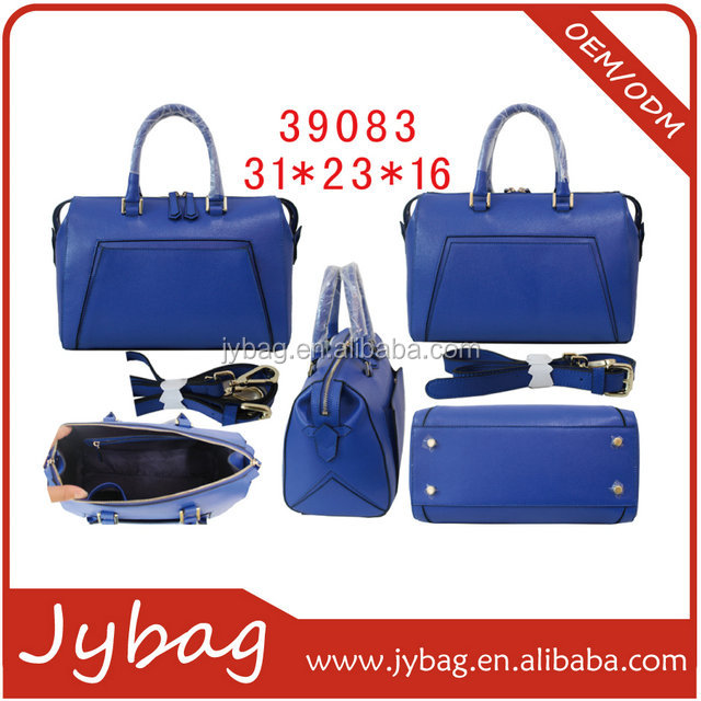 Asia factory rectangle handbag for ladies/big capacity shoulder bag/ blue leather handbag with front pocket for female