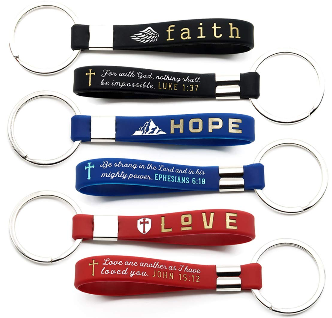 (12-Pack) Faith Hope Love Christian Keychains with Bible Verses - Wholesale Silicone Rubber Key Chains