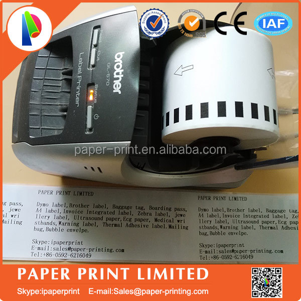 "DK2205 2-3/7"" x 100' (62mm x 30.48M) white barcode label roll for brother QL printer DK-22205"