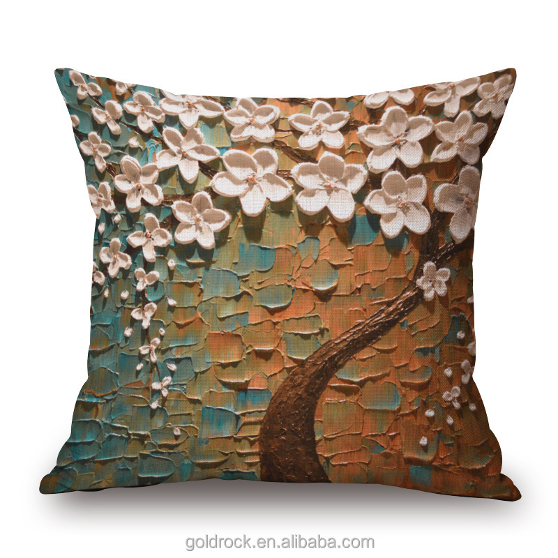 Factory direct sales creative tree design printed blank cushion cover cotton linen decor pillow cases custom 3d cushion cover