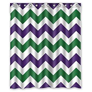 """100% Polyester Waterproof Fashion Purple And Dark Green Zigzag Chevron Pattern Shower Curtain 60""""x72"""" Bathroom Decor,Shower Rings Included"""