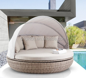 Swivel villa poolside canopy designed wicker resin furniture outdoor round daybeds for sale