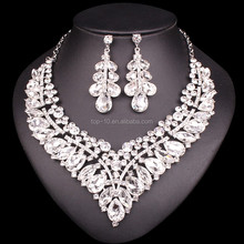 Luxury Wedding Bridal Costume African Jewelry set Crystal Rhinestone Multi Color Platinum Plated Necklace Earring For Women Gift