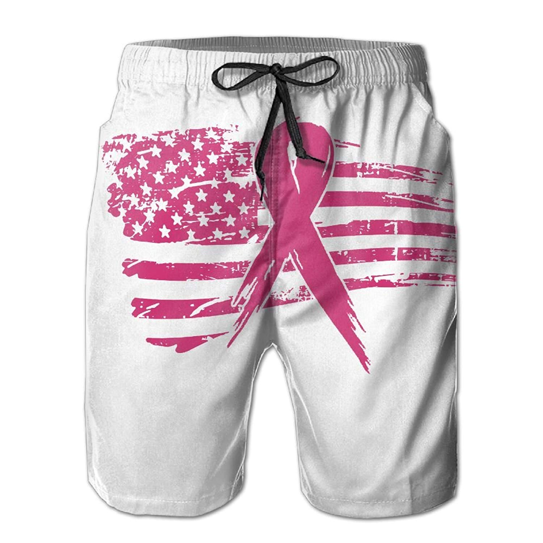 UAJAR Breast Cancer Pink Ribbon Mens 3D Printed Board Shorts Cool Beach Swim Shorts Swim Trunk