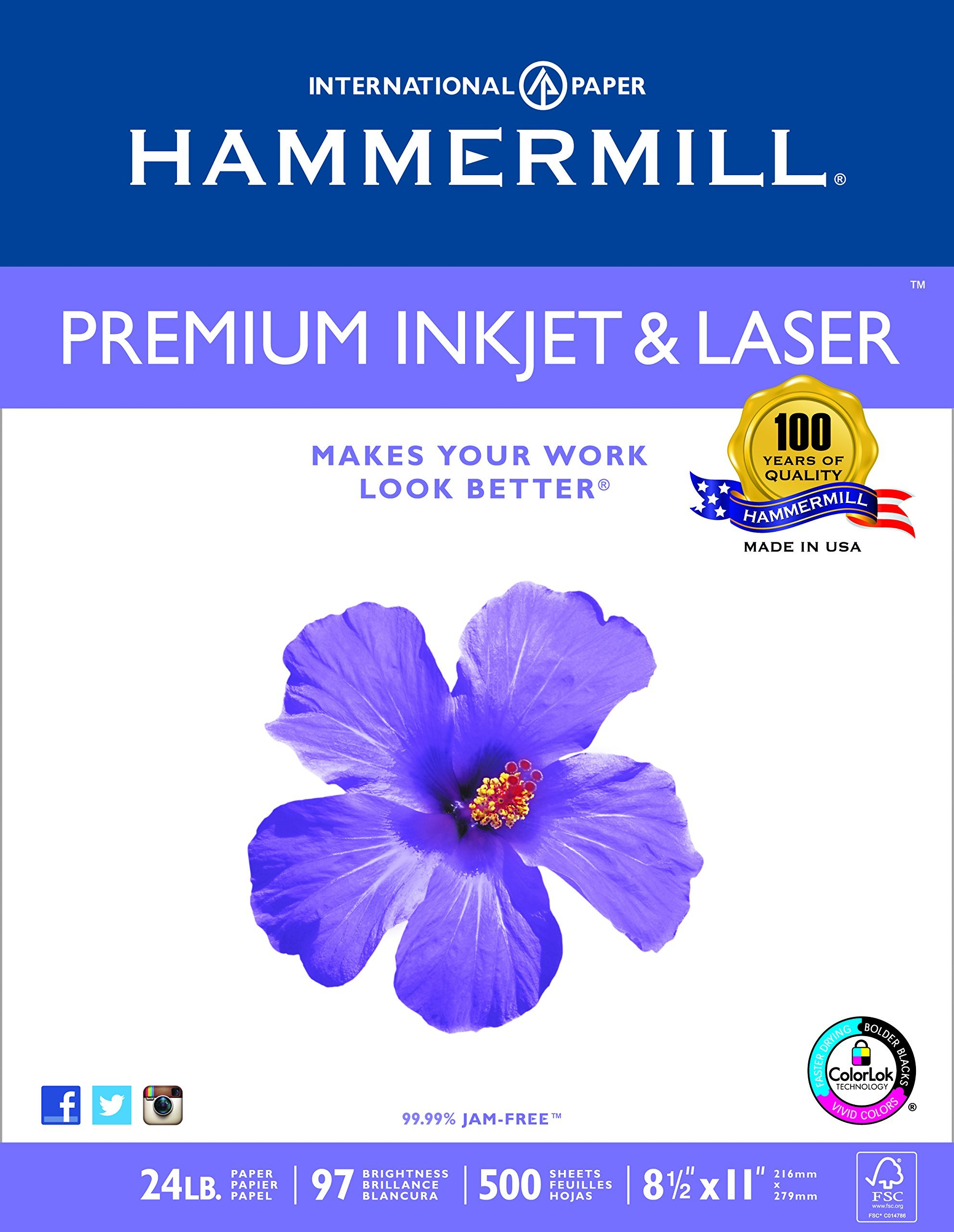 Hammermill Paper, Premium Inkjet & Laser Multipurpose Paper, 8.5 x 11 Paper, Letter Size, 24lb Paper, 97 Bright, 1 Ream / 500 Sheets (166140R) Acid Free Paper
