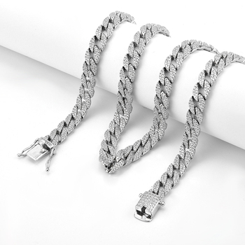 26 Inch 10mm Flat 쿠바 체인 Micro Pave Custom Man Sterling Silver Link Chain 목걸이