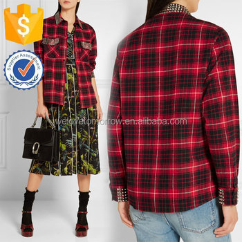 6abc33b6 Red Black and White Embellished Plaid Cotton-flannel Shirt Manufacture Women  Wholesale Fashion Women Apparel