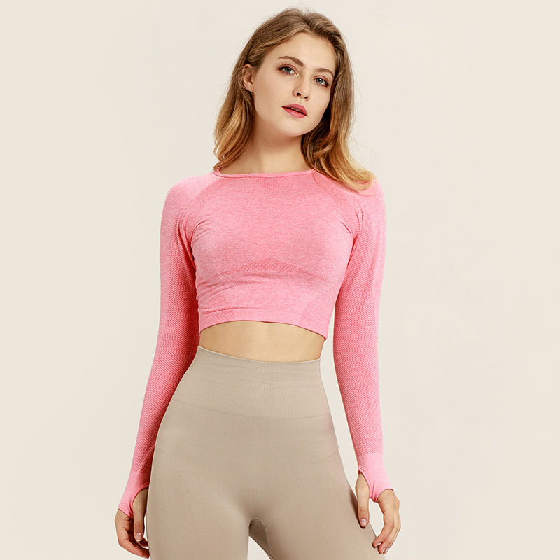 fitness apparel activewear gym yoga workout sports cropped t shirt Seamless Long Sleeve Crop Top with Thumb Hole for Women