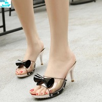 HFS1099A Women Casual Shoes Fancy Ladies Transparent Sandal Shoes High Heels With Bow