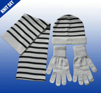 Mens knitted wholesale winter hats and gloves scarves set